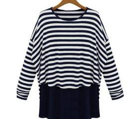 Free Shipping Relaxed Stripes Long Sleeves Tees/T-shirts