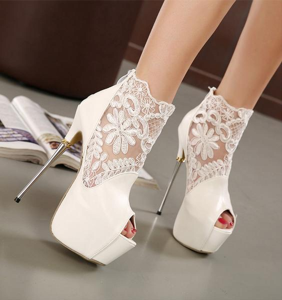 Lace Platform Stiletto Heel Peep-toe Zipper Super High Heel Sandals