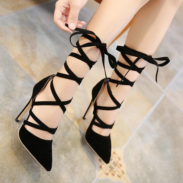 Faux Suede Lace-Up Pointed-Toe High Heel Stilettos