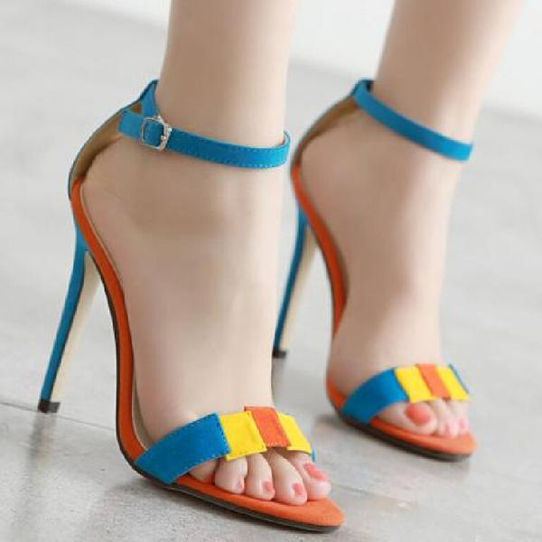 Simple Suede Open Toe Ankle Wrap Stiletto High Heels Sandals