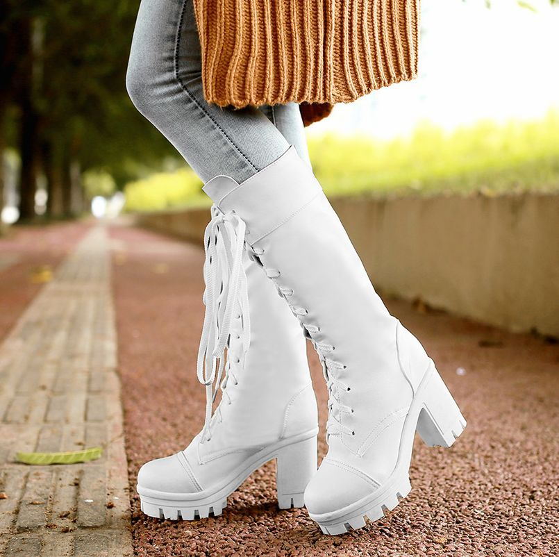 White Knee High Lace Up Boots With Round Toe Platform Chunky Heels