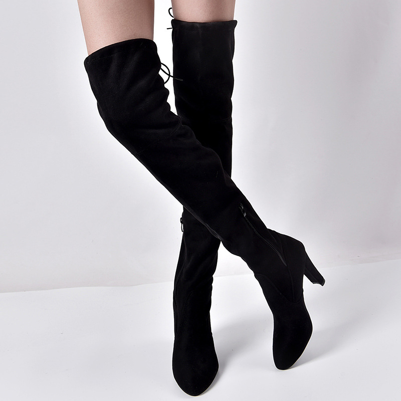 Faux Suede Almond-Toe High Heel Over-The-Knee Boots