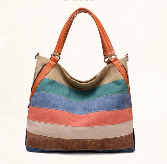 Rainbow Color Women's Canvas Bag