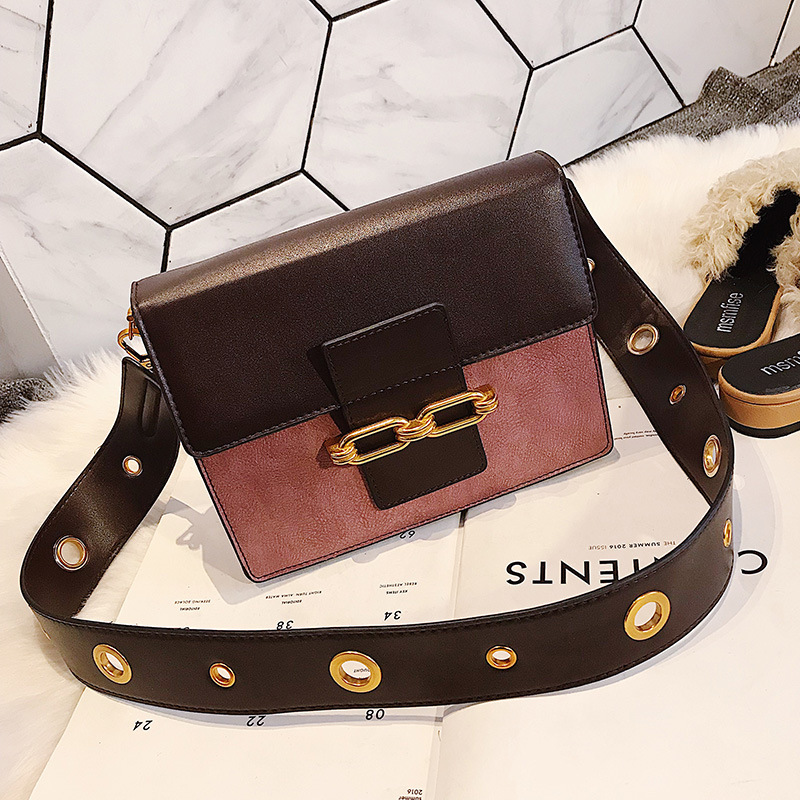 Fashion Color Block PU Crossbody Bag