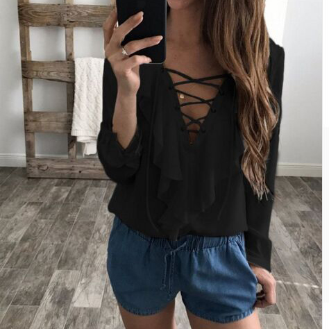 Straps V-neck Ruffles Long Sleeves Regular Blouse