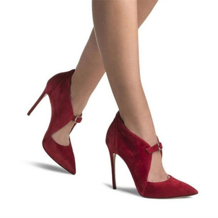 Suede Stiletto Heel Pointed Toe Ankle Strap High Heels Party Shoes