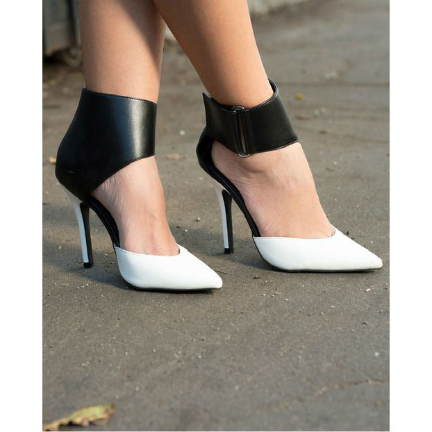 Patchwork Stiletto Heel Pointed Toe Ankle Band Zipper High Heels