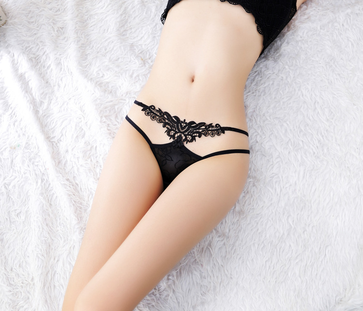 Exquisite embroidery Water soluble flower Sexy transparent hollow lady open underwear(Buy two pieces and send one.)