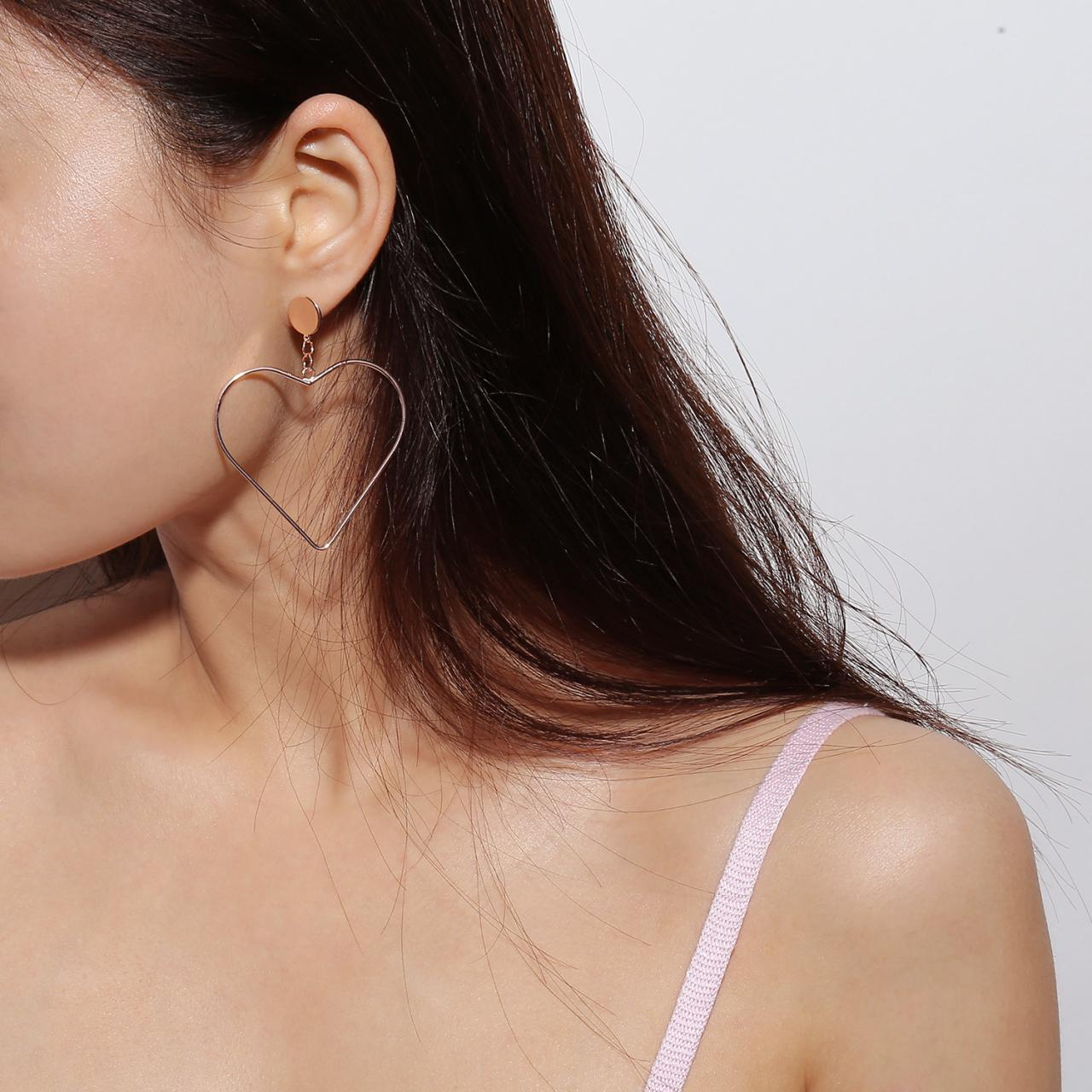 Geometric Exaggeration With Copper Heart Earrings