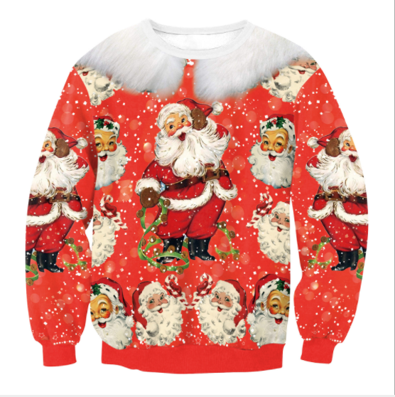 Santa Claus Digital Print Women Loose Christmas Sweatshirt