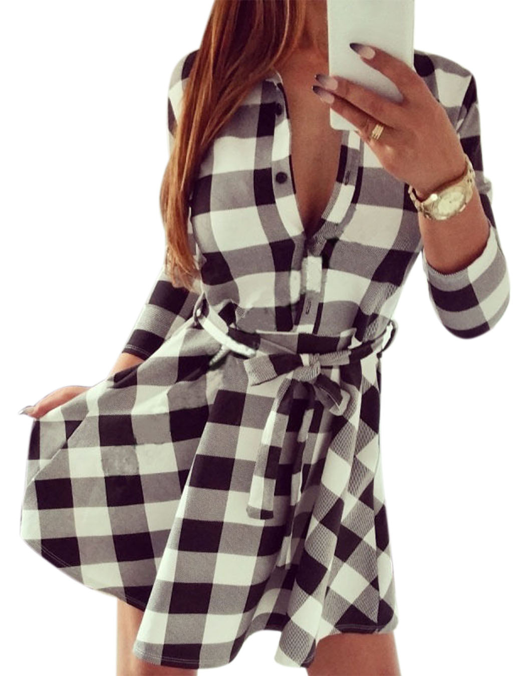 Ladies Plaid Belt Shirt Dress Lapel Button Dress