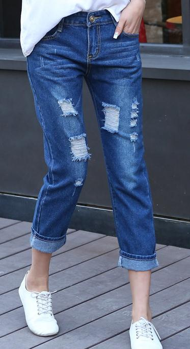 Ripped Holes Casual Plus Size Beggar 9/10 Jeans