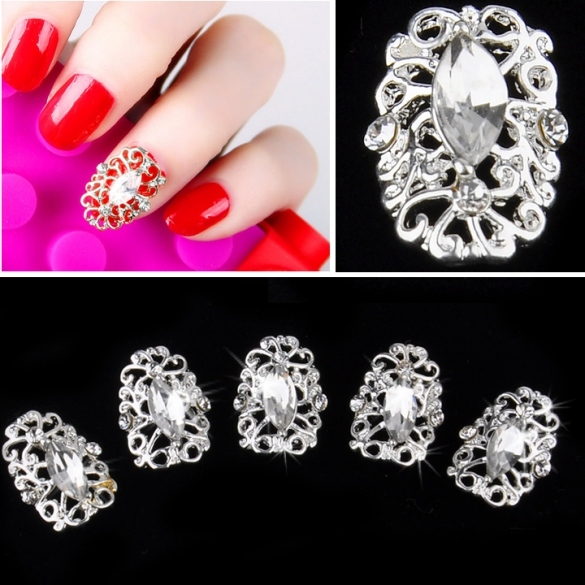 Silver Plate 3D Hollow Crystal Full Nail Art Metallic Alloy Rhinestone Stickers