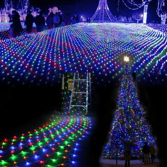 Colorful 200 LED Net Mesh Decorative Fairy Lights Twinkle Lighting Christmas Wedding Party US/110V