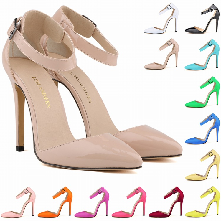 Pointed-Toe Stiletto Heels with Adjustable Buckle Ankle Strap
