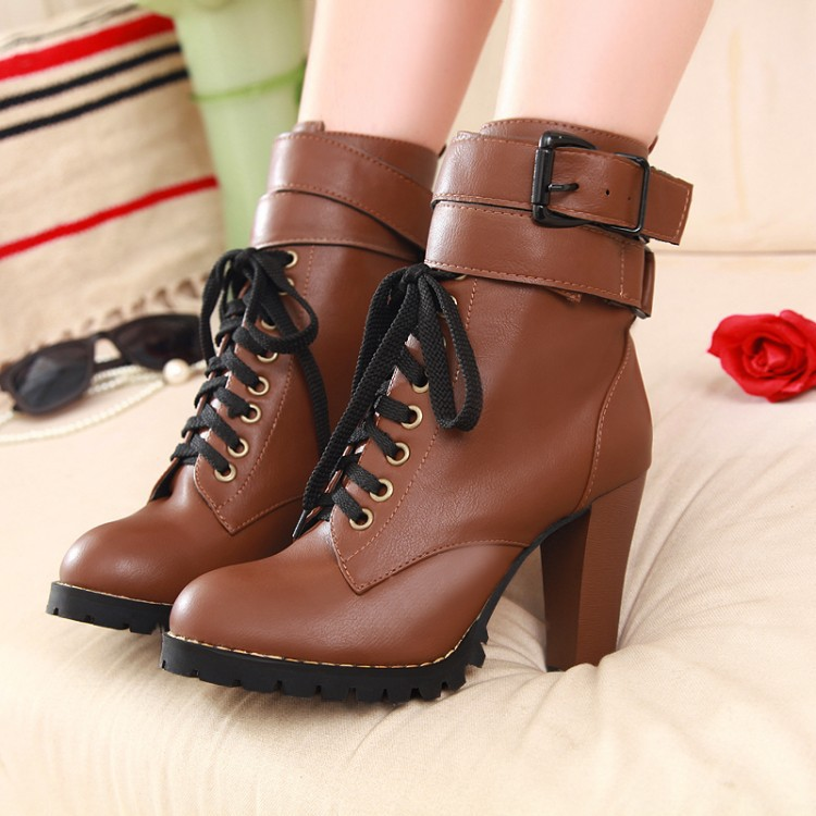 Classic Single Cross Belt High-Heeled Martin Boots