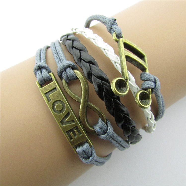 Retro Joker LOVE Note Multi-layer Leather Bracelet