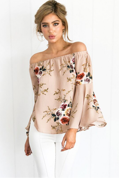 Off Shoulder Printing Horn Sleeve Loose Blouse
