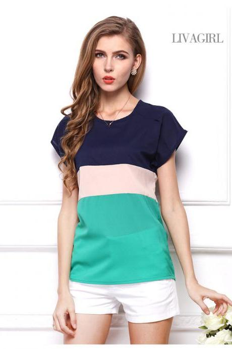 Three Color Stitching Short Sleeve Chiffon T-Shirt