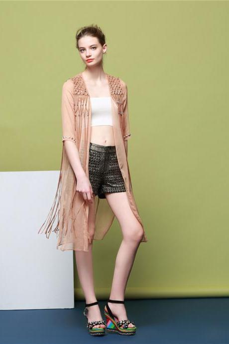 Tassels Cloak Pure Color Five Point Sleeves Coat