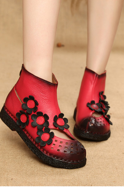 Socofy Breathable Hollow Out Leather Floral Vintage Flat Ankle Boots