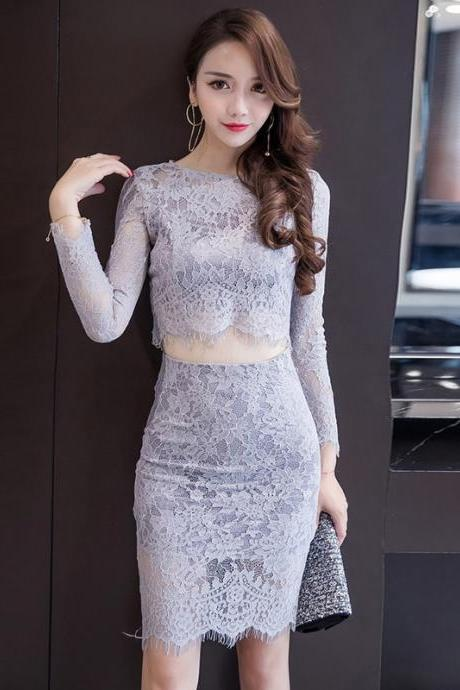 Sexy Long Sleeve Dew Waist Eyelash Lace+Bodycon Skirts