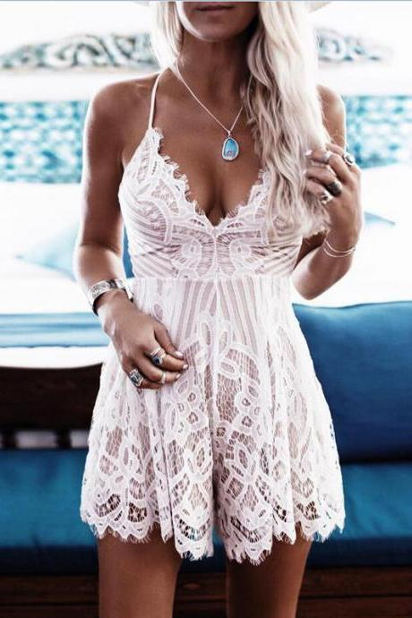Condole Belt Deep V Sexy Backless Lace Eyelash Jumpsuits