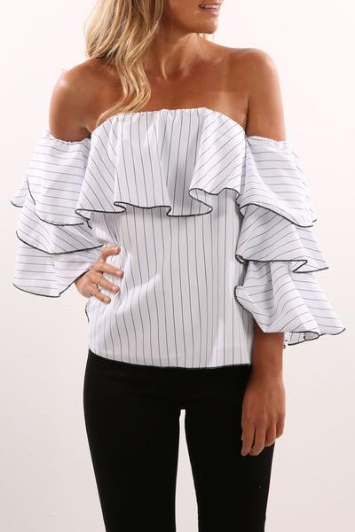 Stripe Off Shoulder Long Ruffles Sleeves Blouse