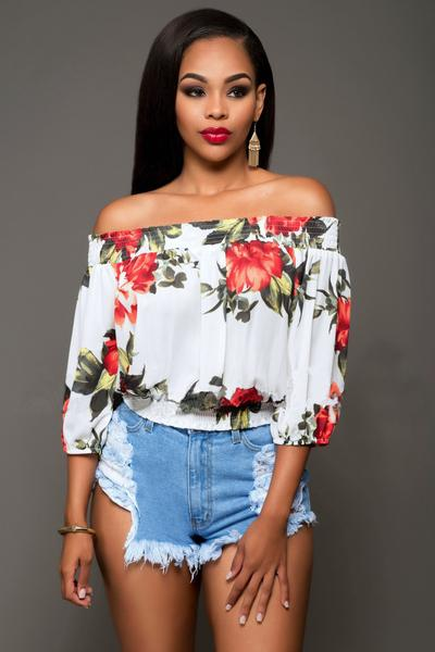 Off Shoulder Flower Print 3/4 Sleeves Short Blouse