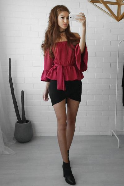 Off Shoulder Long Trumpet Sleeves Bandage Chiffon Blouses