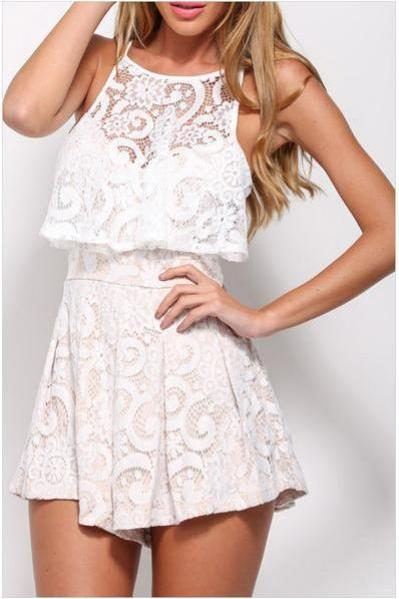 Lace Scoop Sleeveless Short Jumpsuit