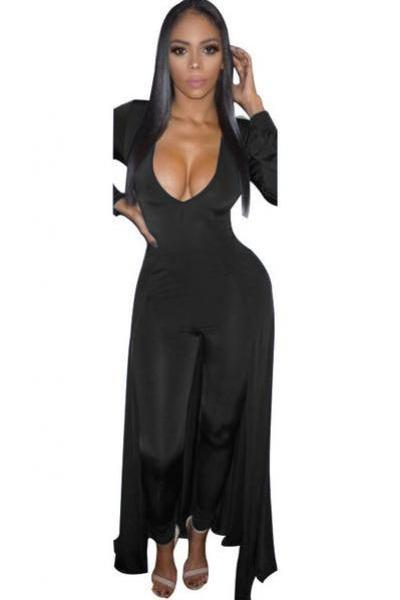 Sexy Deep V-neck Long Sleeves Long Wide-legs Jumpsuit
