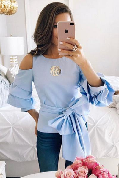 Blue Scoop Neckline Cold Shoulder Lantern Sleeve Top with Ribbon