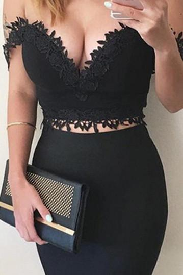 Sleeveless Lace Pure Color Off Shoulder V-neck Crop Top