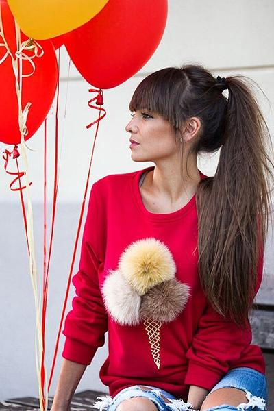 Scoop Fur Ball On Long Sleeves Regular Blouse