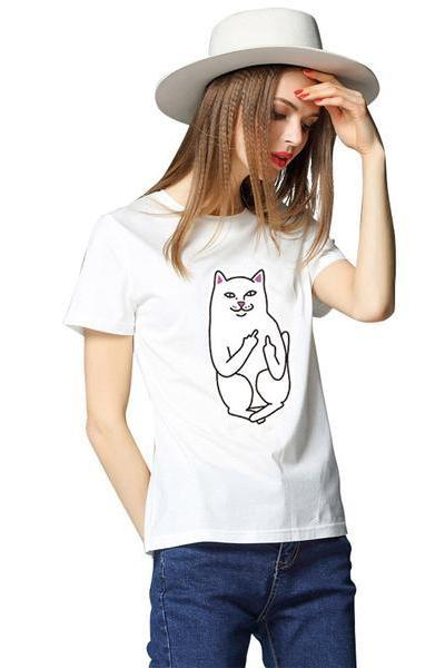 Scoop Cat Print Short Sleeves Regular T-shirt