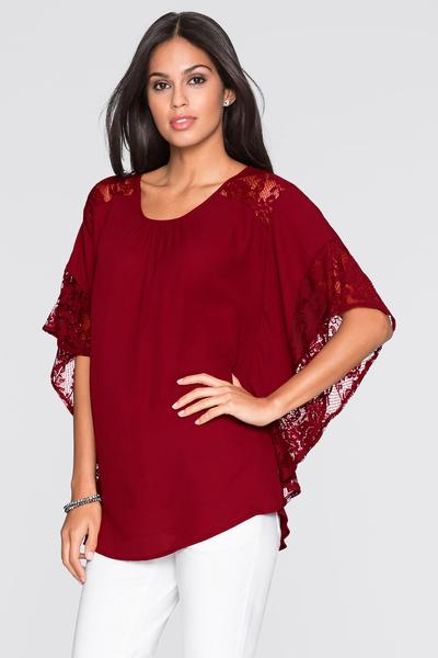 Scoop Lace Chiffon Patchwork Pure Color Half Sleeves T-shirt