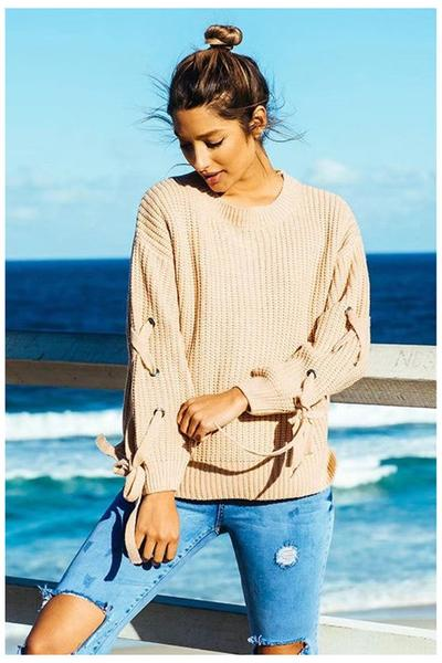 Pure Color Long Sleeves Scoop Straps Regular Sweater
