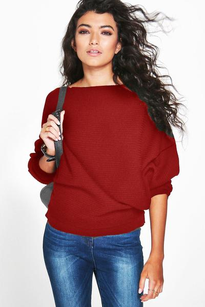 Pure Color Long Bat-wing Sleeves Loose Scoop Regular Sweater