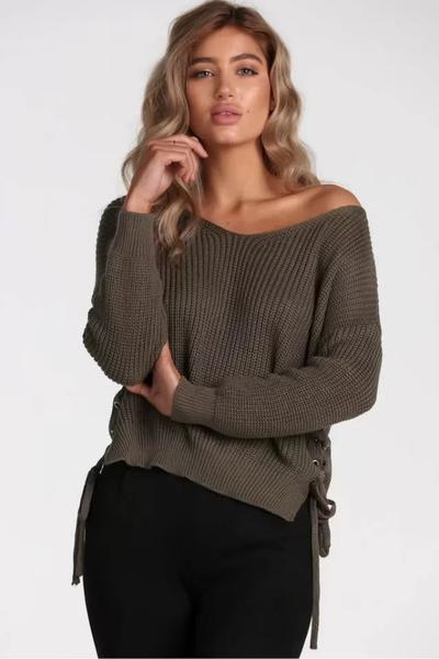 Pure Color Long Sleeves V-neck Straps Regular Sweater