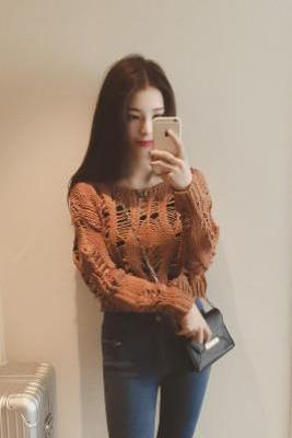 Pure Color Long Sleeves Scoop Hollow Out Short Sweater
