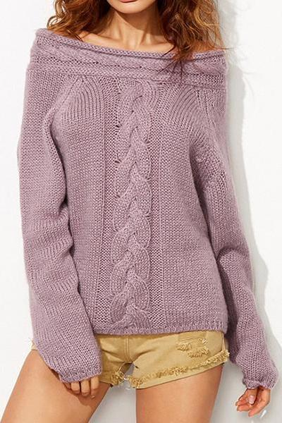 Off Shoulder Cables Loose Pure Color Sweater