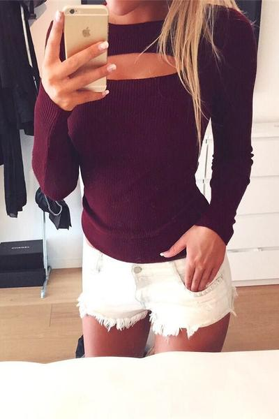 Pure Color Long Sleeves Scoop Hole Cut Out Sweater