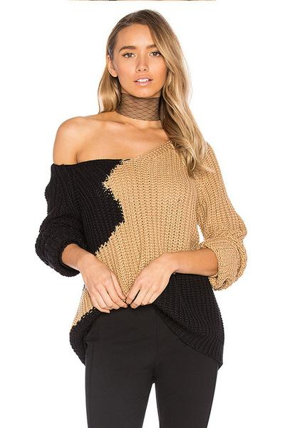 Patchwork Long Sleeves V-neck Regular Sweater