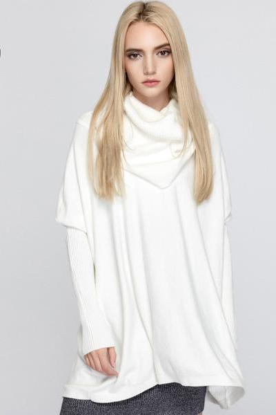 High Neck Long Batwing Sleeves Pure Color Loose Sweater