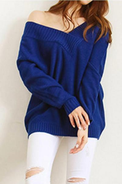 Long Sleeves Pure Color Off Shoulder Loose Sweater