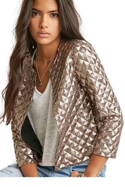 Metallic Silver Round Collar Diamond Quilted Bomber Jacket, Baseball Jacket