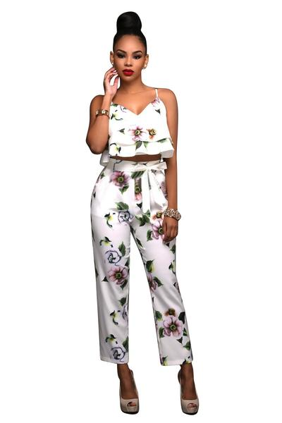 Flower Print Ruffles Vest with Skinny Pants Two Pieces Set