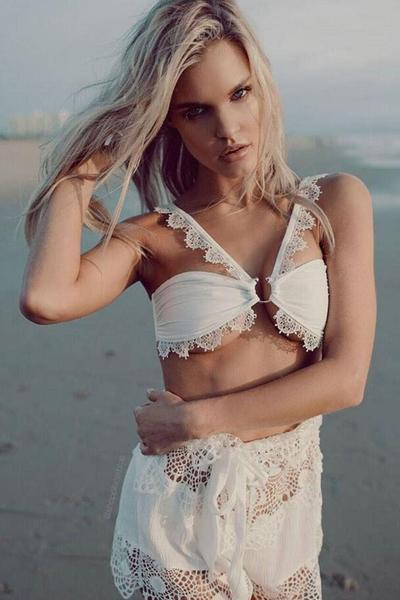 Straps Lace Patchwork Low Waist Two Pieces Swimwear