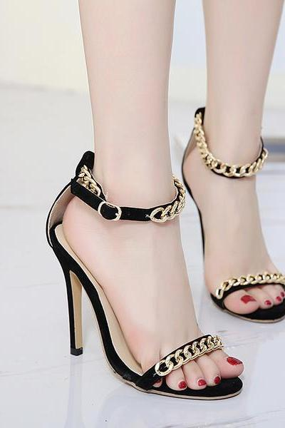 Stiletto Heel Peep-toe Metal Chain Decorate Ankle Strap High Heel Sandals